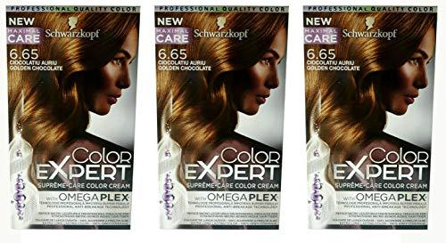3x Schwarzkopf Color Expert Intensiv-Pflege Color-Creme 6.65 Goldene Schokolade, 3er Pack