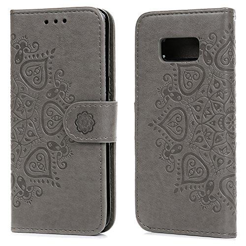 Preisvergleich Produktbild Geniric Handy Hülle für Samsung Galaxy S8 Leder Flip Wallet Cover Stand Case Card Slot Leder Tasche Karteneinschub TPU 2 in 1 Combo Karteneinschub Magnetverschluß Kratzfestes (Grau Hälfte Blume)