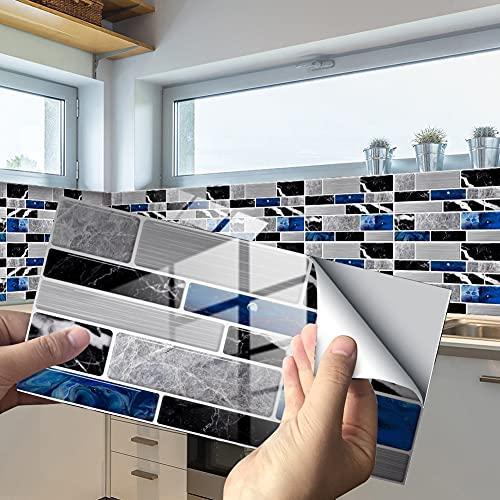 Exnemel 24pcs pegatinas para azulejos para baño, cocina, autoadhesivas, impermeables, para pared del metro, pegatinas para azulejos, transferencias, vinilo, papel tapiz con efecto de azulejo diy