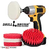 Hard Water Stain Remover, Mineral Deposit, Soap Scum Bathroom Power Brush and Scour Pad Kit by Drillbrush