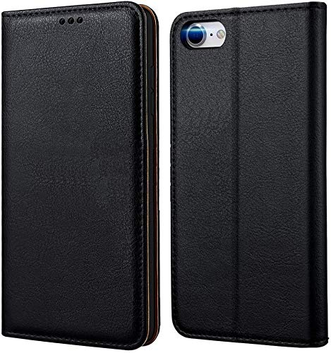 tomaxx Funda de teléfono móvil para iPhone 6 Plus, funda de primera calidad, funda con tapa compatible con iPhone 6 Plus y 6S Plus, funda plegable para smartphone, [imán] piel auténtica negra