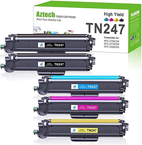 Aztech Cartuccia toner Compatibile In sostituzione di Brother TN243CMYK TN247 MFC-L3730CDN DCP-L3550CDW MFC-L3750CDW MFC-L3770CDW HL-L3230CDW Toner (Nero,Ciano,Giallo,Magenta, confezione da 5)