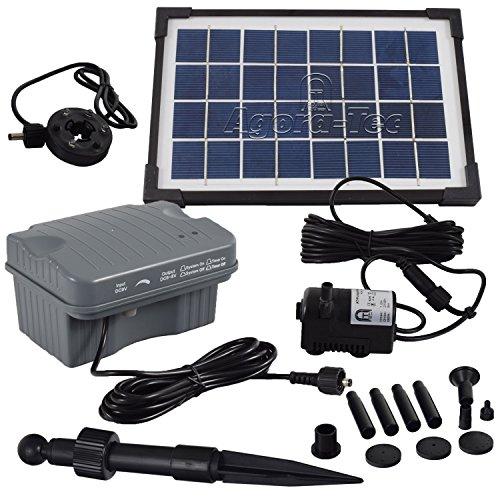 Agora-Tec® 3.5W-BL Beleuchtete Solar Teichpumpe 3.5 Watt mit Akku und 3 fach LED Ring, Hmax.: 210l/h Fontainenhöhe: 0,80 m für Gartenteich oder Springbrunnen