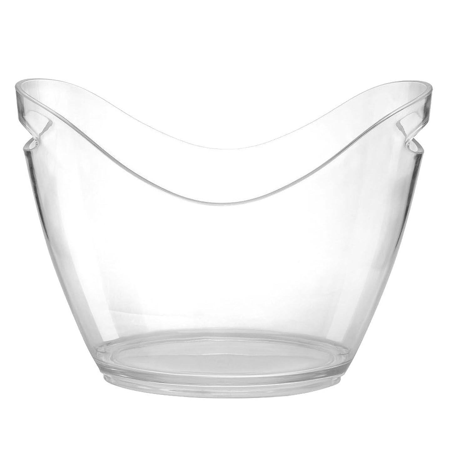 実際の繁栄ラップ透明 プラスチック 氷バケツ ワイン シャンパン ボトル 氷クーラー バー 装飾 全2サイズ - 4L