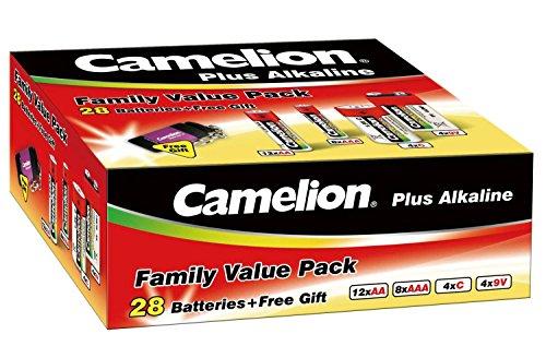 Camelion 11102800 Plus Alkaline Batterien (Haushaltssparset 28tlg., Inkl. Taschenlampe, Schlüsselanhänger)