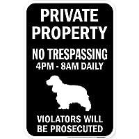 PRIVATE PROPERTY ブラックマグネットサイン:イングリッシュコッカースパニエル シルエット 英語 私有地 無断立入禁止