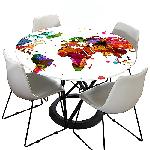 Morbuy Rund Tischdecke Elastisch, 3D Welt Rund Tischdecken Wasserdicht Lotuseffekt Abwaschbar Abwischbar Tischtuch für Dekoration Küchentisch Garten Outdoor (Mehrfarbig,Durchmesser 90cm)