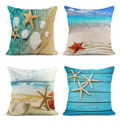 ArtSocket Set of 4 Throw Pillow Covers Starfish and Seashell Summer Beach in Sea Water Time Caribbean Decor Linen Pillow Cases Home Decorative Square 18x18 Inches Pillowcases