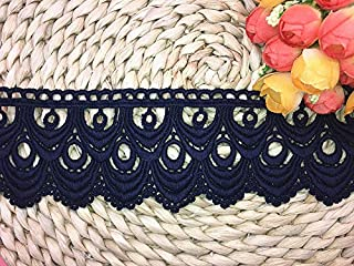 8CM Width Europe Wave Pattern Inelastic Embroidery Trims,Curtain Tablecloth Slipcover Bridal DIY Clothing/Accessories.(4 Yards in one Package) (Navy Blue)
