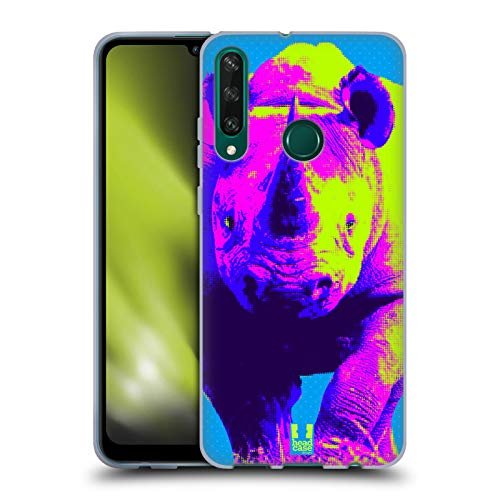 Head Case Designs Rinoceronte Negro Corriendo Impresiones Pop Agreste Carcasa de Gel de Silicona Compatible con Huawei Y6p