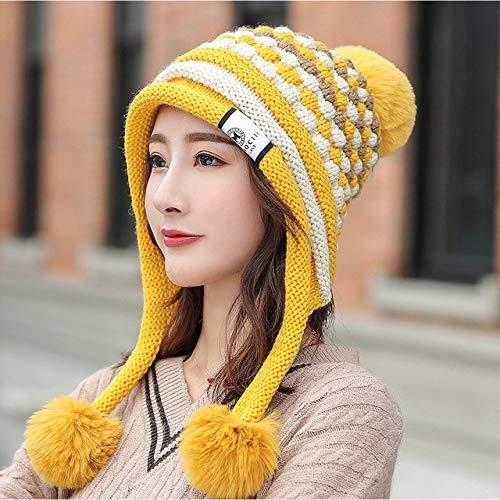 ZZSDG Ensemble de Chapeau d'hiver Femmes Doublure Skullies épais Chapeaux tricotés Chauds 3 Pompons Chapeau écharpe Ensemble Bonnets Femme,Yellow,56-58 cm