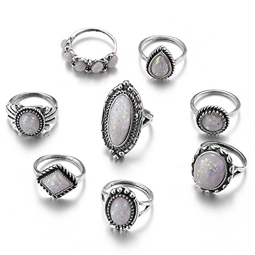 minjiSF Juego de 8 anillos de piedras preciosas de moda para mujeres y mujeres, anillo de alta calidad, hermoso anillo exquisito año encanto único, joyas para fiestas (multicolor)