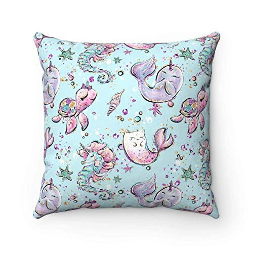 N\A Narwhal Pillow Narwhal Cushion Nursery Decor Home Decor Nautical Cushion Nursery Pillow Kids Room Decor Kids Pillow Cushion Narwhal