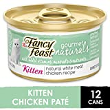 Purina Fancy Feast Grain Free, Natural Pate Wet Kitten Food, Gourmet Naturals Natural White Meat Chicken Recipe - (12) 3 oz. Cans