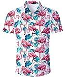 Aideaone - Camisa hawaiana de manga corta para hombre, camisa de playa B-flamencos. XL