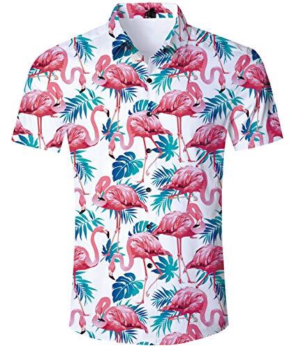 AIDEAONE Herren Flamingos Kurzarm Tropisch Hemden Lässig Knopf Hemd Rosa und weiß