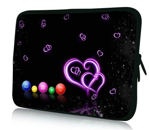 wortek Universal Notebooktasche Schutzhülle aus Neopren für Laptops bis ca. 15,4 Zoll - Herz Kugeln Schwarz Lila Bunt
