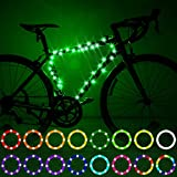 Waybelive LED Bike Frame Lights, Remote Control Bicycle Frame LED Light, 16 Color Change by Yourself, Waterproof, Super Bright to Ride at Night. Good Gift for Kids(1 Tire, Multicolor)