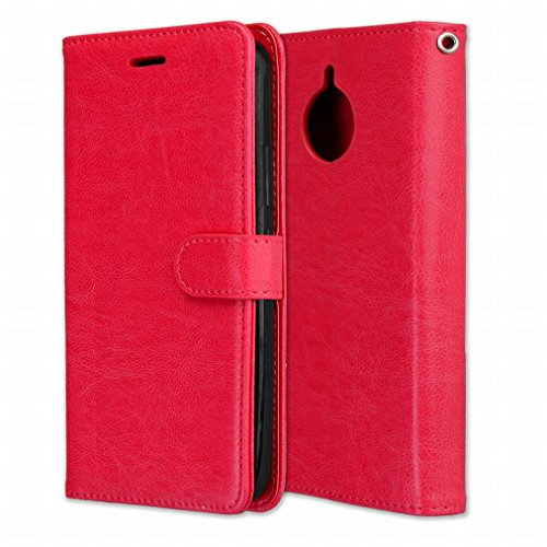 Laybomo Schuzhülle für Motorola Moto E4 Plus Hülle Ledertasche Weiches Silikon TPU Haut Beutel Schützend Stehen Bilderrahmen Brieftasche Schale Tasche Handyhülle für Motorola Moto E4 Plus (Rot)