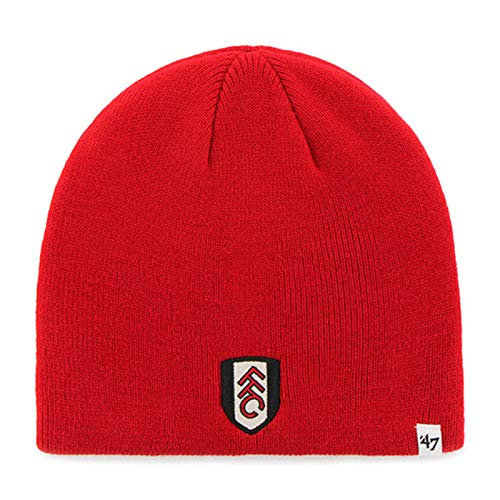 Fulham Football Club Official 47 Brand Knitted Red Beanie Hat Crest Badge