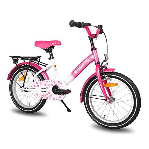 HILAND Starry Rosa 16 Zoll Kinderfahrrad   TÜV getestet   für Mädchen 3-5 Jahre mit Korb, Handbremse und Rücktritt