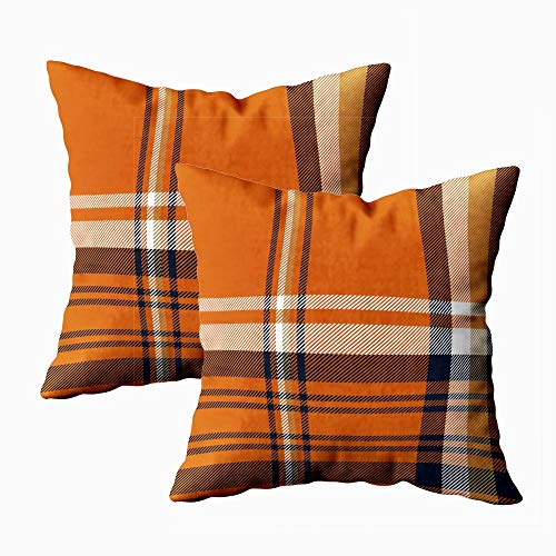 silichee Christmas Pillow Covers Set of 2, Buffalo Check Plaid Throw Pillow Covers Orange Plaid Decorative Square Pillow Cover Case Cushion for Sofa Bedroom Car(Orange,18X18Inch)