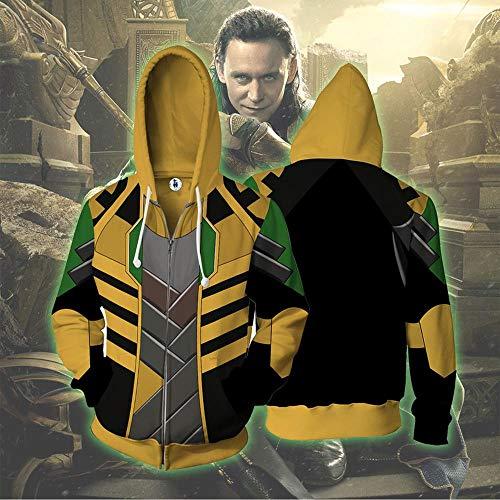 Felpe con Cappuccio Costume Cosplay Unisex Felpa con Cappuccio Zipper Hoodie Loki Stampato Uomo Felpa con Cappuccio della Tuta Sportiva XXL