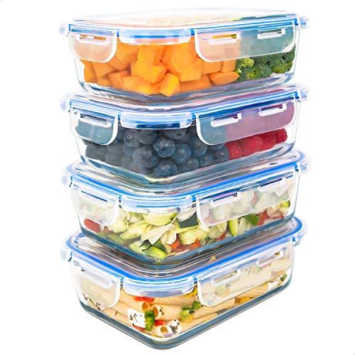 Luxury & Grace 4er Packung Glas Frischhaltedosen 1000 ml. Luftdicht. Geeignet für Mikrowelle, Ofen,...