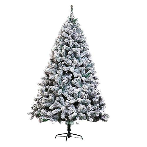 10 Ft Snow Flocked Artificial Christmas Tree, Unlit Artificial Pine Xmas Tree 1300 Branch Tips, Easy Assembly, Foldable Metal Stand-10ft(300cm)