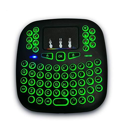 B-black Mini Tastiera Retroilluminata, 2.4Ghz Mini Tastiera Senza Fili Wireless con Touchpad per PC, Pad, Android Google TV Box, PS3, Xbox 360, HTPC, IPTV