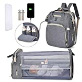 Diaper Bag Backpack, Baby Bagswith Changing Station for BoysGirls, Multifunction Travel Back Pack with PortableChanging Pad& Stroller Straps, Essentials for Diaper Organizer, Large(New Grey)