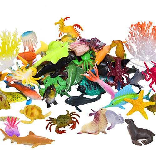 Ocean Sea Animals Figures  60 Pack Mini Plastic Deep Underwater Life Creatures Set  STEM Educational Shower Bath Toys Gift for Baby Toddler Cupcake Toppers Party Supplies with Turtle Octopus Shark