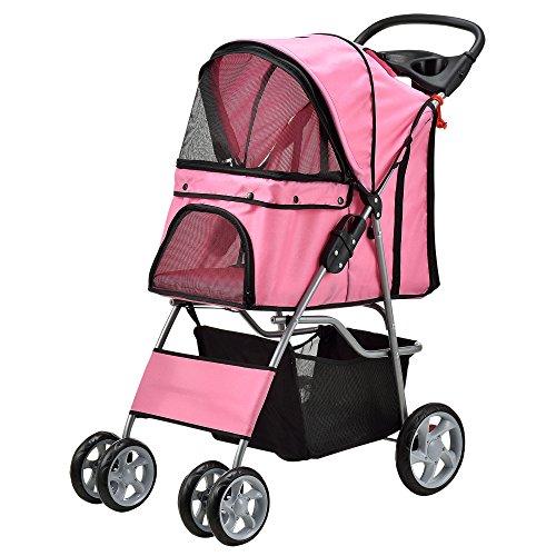 [pro.tec] Hundewagen Pet Stroller Hundebuggy Regenschutz zum Schieben Roadster inkl. Einkaufstasche Pink
