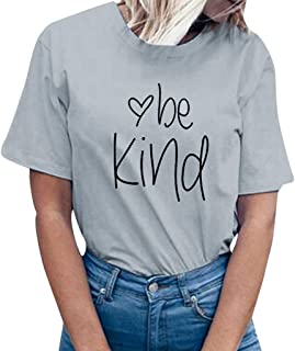 Foowni Women be kind Letter Print Short Sleeve T-Shirt Tops Blouse Tee