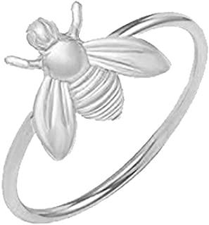 MANZHEN Cute Silver Tiny Honey Bee Ring Jewelry Women