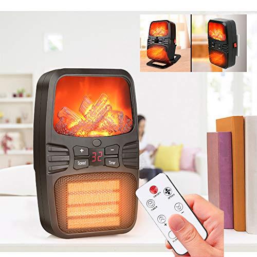 1000W Desktop Heizlüfter, TINYOUTH Elektro-heizung mit Thermostat, PTC Keramik Heizung, Heizlüfter Steckdose, 12 Stunden Timer & Windgeschwindigkeit, 5M Infrarot Fernbedienung & LED Anzeige