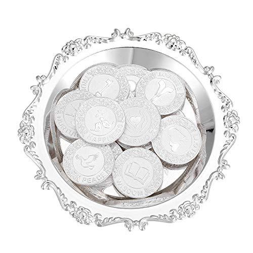 English Silver 13 Coins for Wedding Ceremony Arras de Boda Unity Coin Set with Tray Plate Filipino Wedding Arras