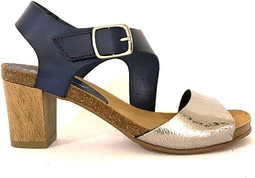 Sandales talon talon moyen cc942en cuir bleu cuir noir ceinture mainapps  qualité officielle