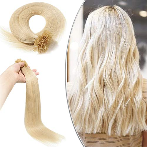 Elailite Extension Capelli Veri Cheratina Lunga Durata 100 Ciocche Bionde - 40cm 50g 100% Remy Human Hair U Tip Nail Hair Naturali Lunghi Lisci #60 Biondo Platino