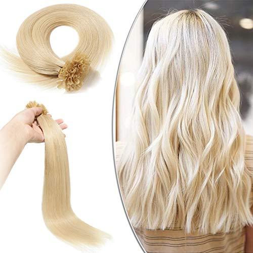 Extensions Cheveux Naturel Keratine - Rajout Cheveux Humain a Chaud 100 Mèches (#60 BLOND PLATINE, 55 cm-50g)