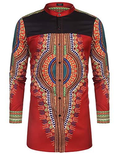 COOFANDY Men s African Dashiki Print Shirt Long Sleeve Button Down Shirt Bright Color Tribal Top Shirt