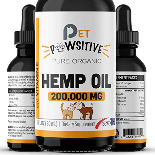 Pet Pawsitive - Hemp Oil for Dogs and Cats - Made in USA - Max Potency - Calming Aid - Separation Anxiety, Joint Pain, Stress Relief, Pains, Pet Relief - Omega 3, 6 & 9 – 100% Organic (2000MG)