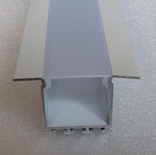 C2 architectonische profielen voor plafond en gipsplaten, geschilderd, wit, set met melkachtige diffuser en 4 montage lente