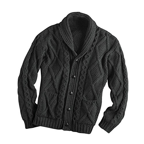 Irish Aran Knitwear 100% Irish Merino Wool Men's Shawl Neck Cardigan Sweater with Pockets (Charcoal, Large)