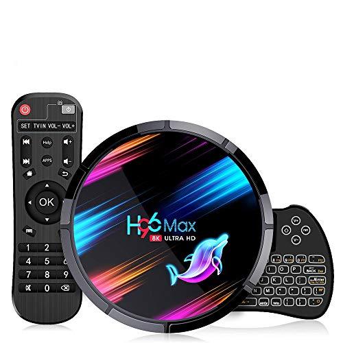 Android TV Box Smart TV Box, H96 MAX X3【4G+32G】 S905X3 Quad-Core 64bit Cortex-A53, Wi-Fi-Dual 5G/2.4G,BT 4.0, 8K*4K UHD H.265, USB 3.0 Android Box 9.0 con Mini Teclado Inalámbirco con Touchpad