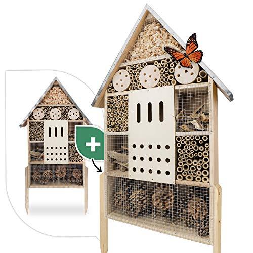 Wildlife Friend | Insektenhotel XL mit Zink-Dach - unbehandelt, Insektenhaus aus Naturholz für Bienen, Marienkäfer & Schmetterlinge, Bienenhotel & Nisthilfe zum aufhängen oder aufstellen, 76cm