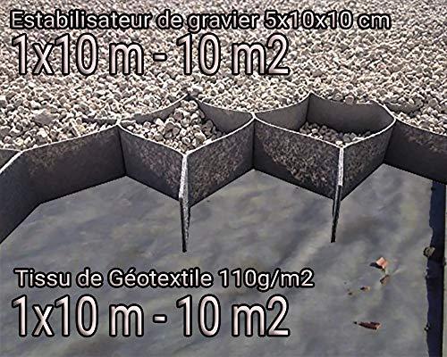 Stabilisateur de Gravier + Tissu de Géotextile 10m2