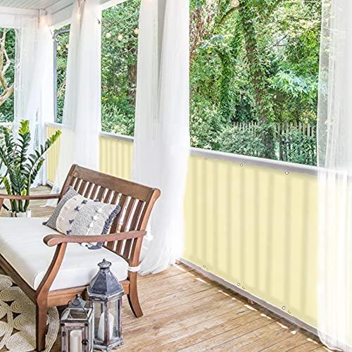 BALCONIO Balkon Sichtschutz wasserabweisend Balkonbespannung Balkonabdeckung für Balkon Terrasse aus Polyester-Zitronengelb-300 x 85 cm