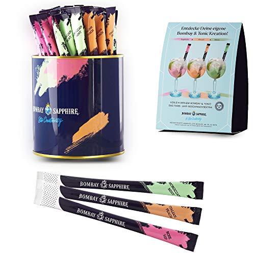 45 Stück original Bombay Sapphire Infusion Stirrer Sticks mit Cocktail-Pulver in den Geschmacksrichtungen Minze Peach Rose - inkl. Dispenser-Dose + 15 Tischaufsteller gratis