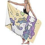 asdew987 Toallas de baño de sirena unicornio amor corazón estrella extra grande toallas de baño secado rápido/nadar/camping